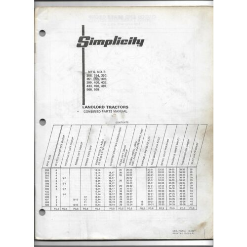 original-simplicity-308-314-350-351-395-396-399-400-landlord-tractors-parts-list