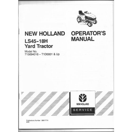 original-new-holland-ls4518h-yard-tractor-operators-manual-86617774-dated-0800