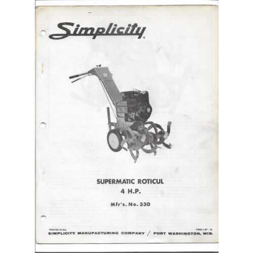 original-simplicity-330-supermatic-roticul-4hp-tiller-owners-manual-parts-list