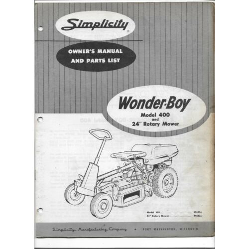 original-simplicity-wonder-boy-wonderboy-400-tractor-owners-manual-parts-list