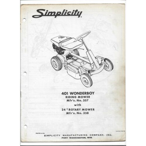 original-simplicity-401-wonderboy-24-inch-riding-mower-owners-manual-parts-list