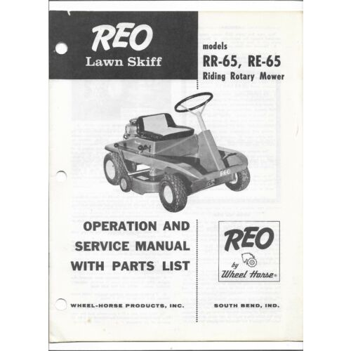 original-reo-rr65-and-re65-riding-rotary-mower-operators-parts-service-manual