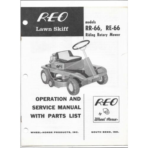 original-reo-rr66-and-re66-riding-rotary-mower-operators-parts-service-manual