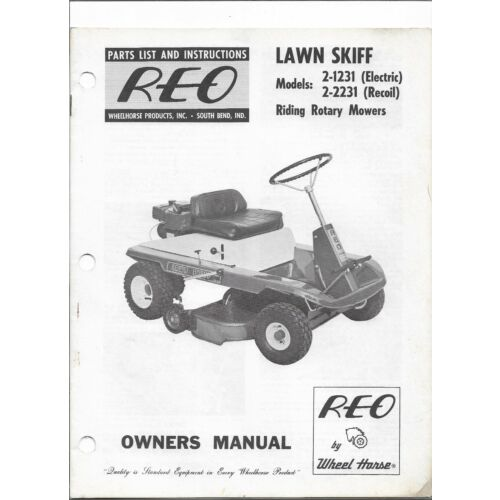 original-1967-reo-lawn-skiff-21231-22231-riding-mower-parts-list-owners-manual