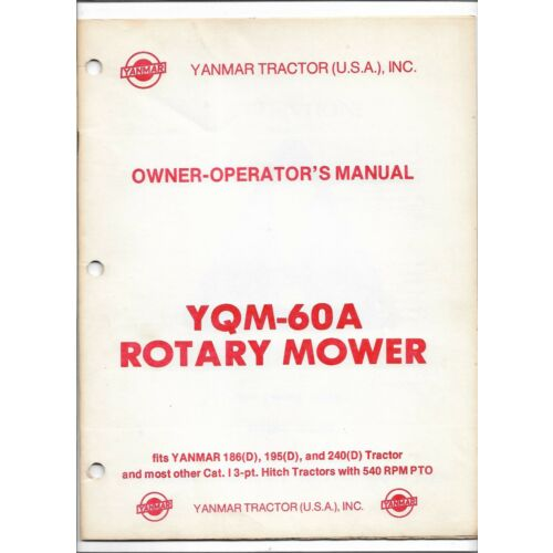 original-oem-yanmar-model-yqm60a-rotary-mower-operators-owners-manual-0-899-901