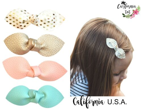 Lot 4 Girls Barrette Safety Hair Clip Faux Leather Rabbit Ears Bows Toddler-swee