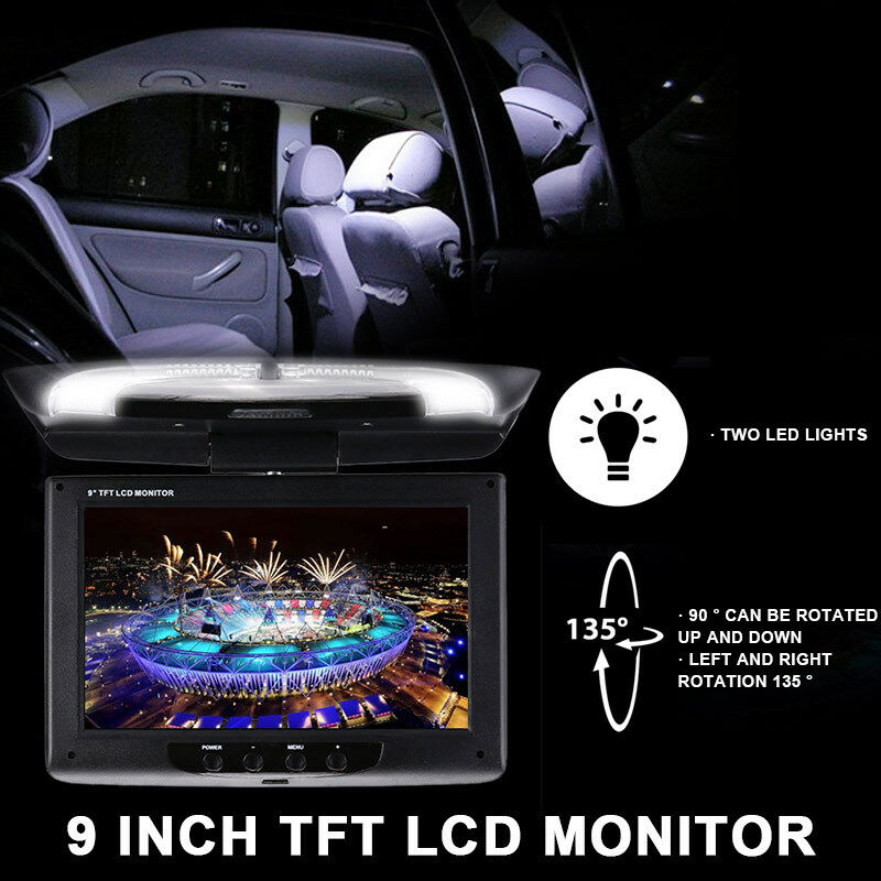 Details About Car Displayer Universal 9 Inch DC 12V Monitor Flip Down Roof Mount