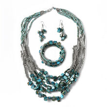 Blue Seed Bead Stainless Steel Earrings Wrap Bracelet and Multi Strand Necklace