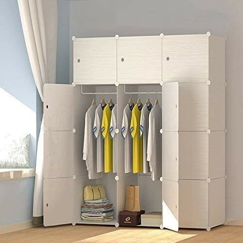 Details About Modern Plastic Bedroom Wardrobe Hanging Rail Clothes Cabinet Cube Closet Modular