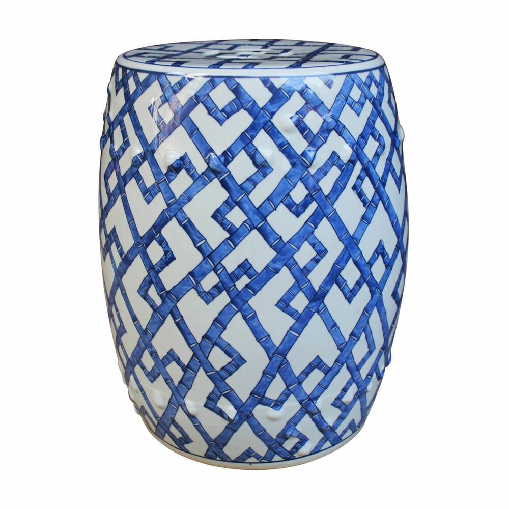 Blue And White Porcelain Bamboo Garden Stool 18 Quot Ebay