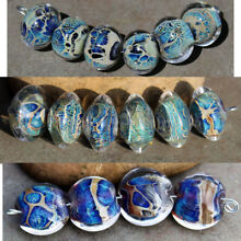 Azores - Blue and Ivory Handmade Glass Lampwork Beads MTO - New Shapes!