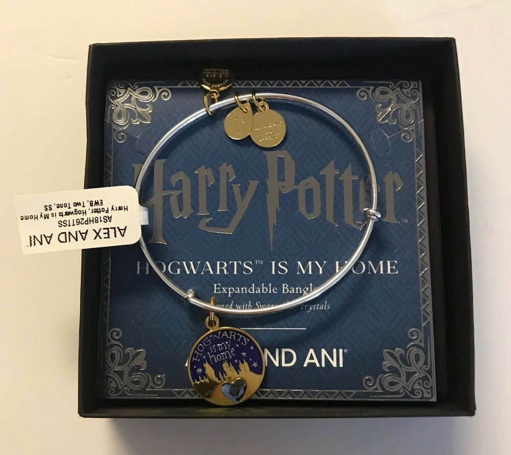 9cff08645 Details about Alex Ani Harry Potter Hogwarts is my Home Bangle Two Tone  Finish New with Box