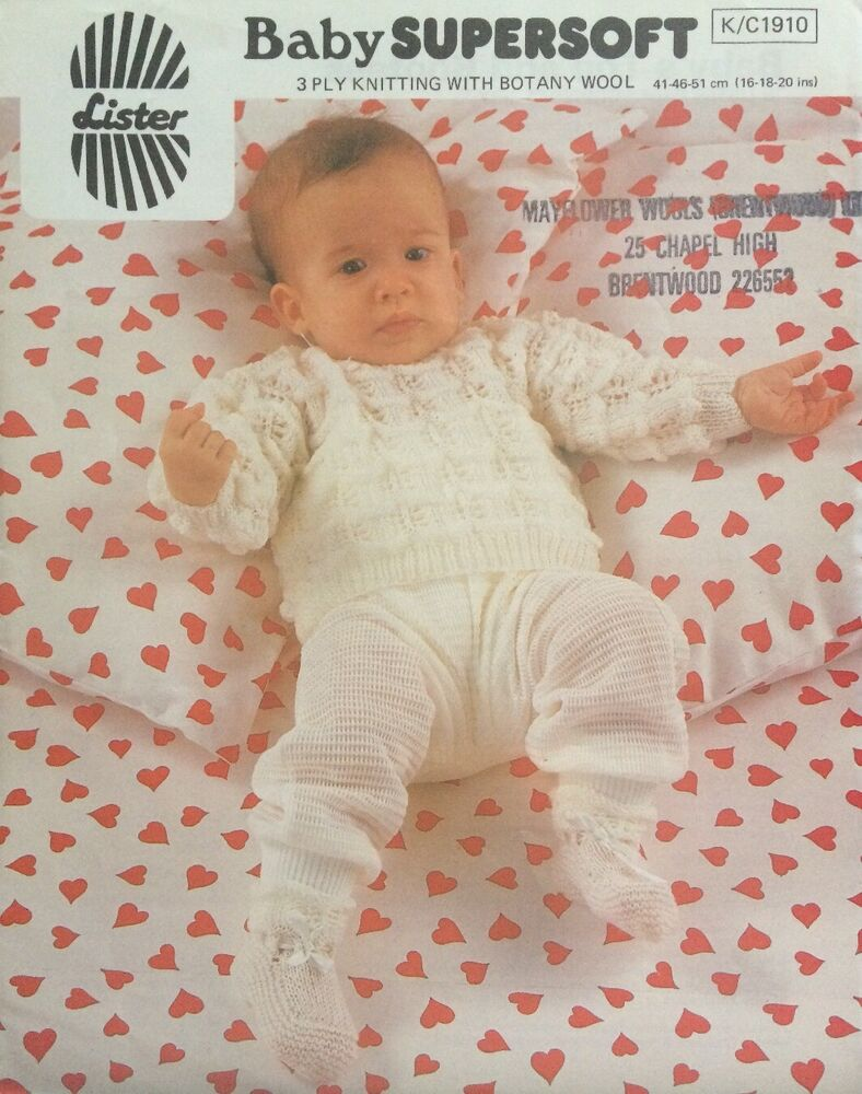 9d3882ebb06a Lister Vintage Baby Supersoft Top   Bootees 3 Ply KNITTING PATTERN ...