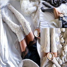 Women Winter Cable Knit Over knee Long Boot Thigh-High Soft Warm Socks Leggings