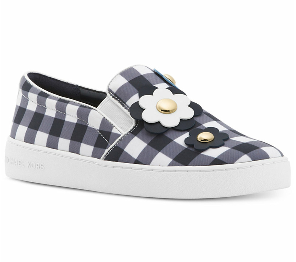 ab01a1d8abd Details about New Michael Kors KEATON Floral Gingham Slip On Sneakers Shoes  Admiral/Opt White