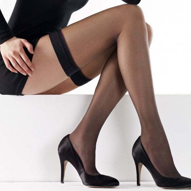 efe013a9c55 Details about 20 Denier Nearly Black Plain Top Hold Up Stockings - Small to  Medium FREE P P