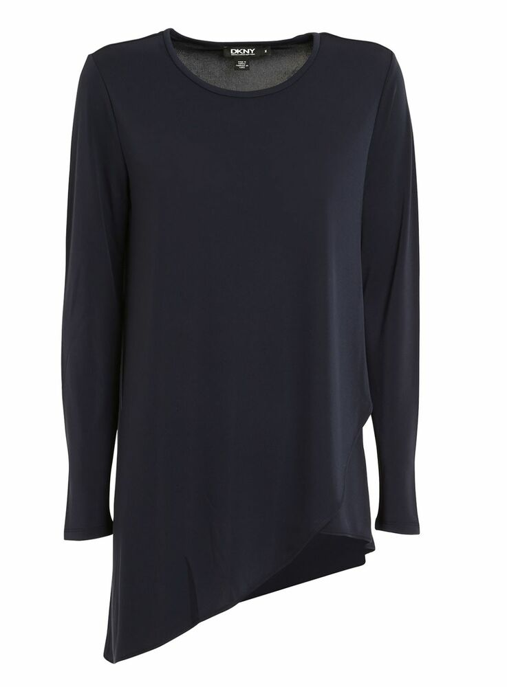 b79615c910 Details about DONNA KARAN NWT blue black ASYMMETRICAL TUNIC TOP Long Sleeve  p XS DKNY NEW RARE