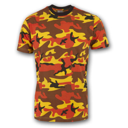 img-MILITARY ARMY T SHIRT BRIGHT ORANGE DESERT CAMOUFLAGE PATTERN CAMO COTTON