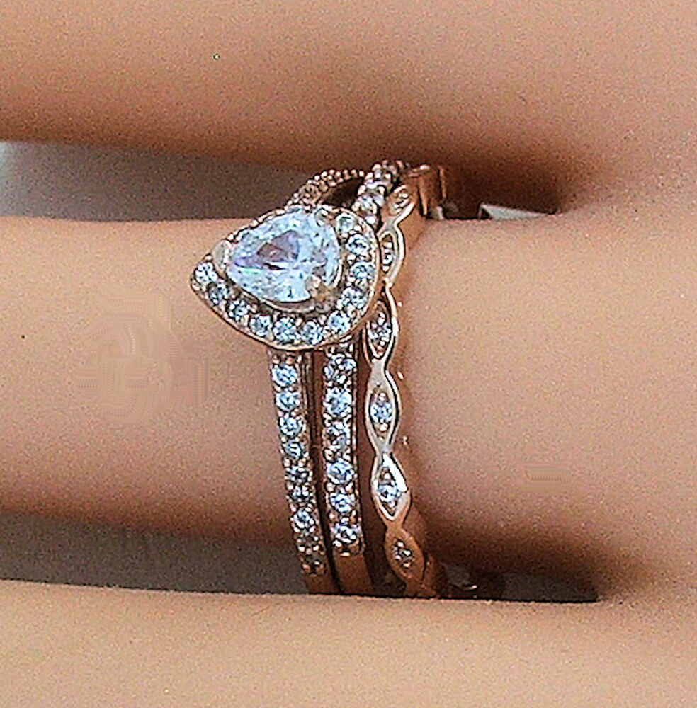 393d52d030a 3 PIECE ROSE GOLD PLATED STERLING SILVER HALO CZ WEDDING RING SET