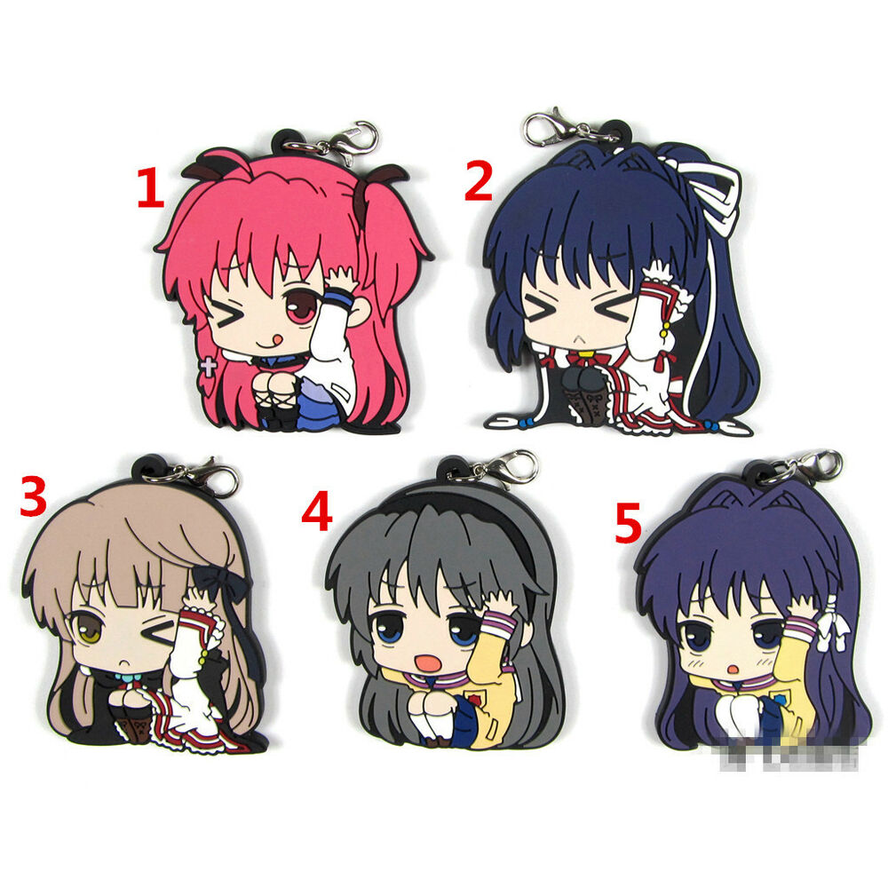 Details about t1366 anime angel beats clannad rewrite rubber keychain key ring straps cosplay