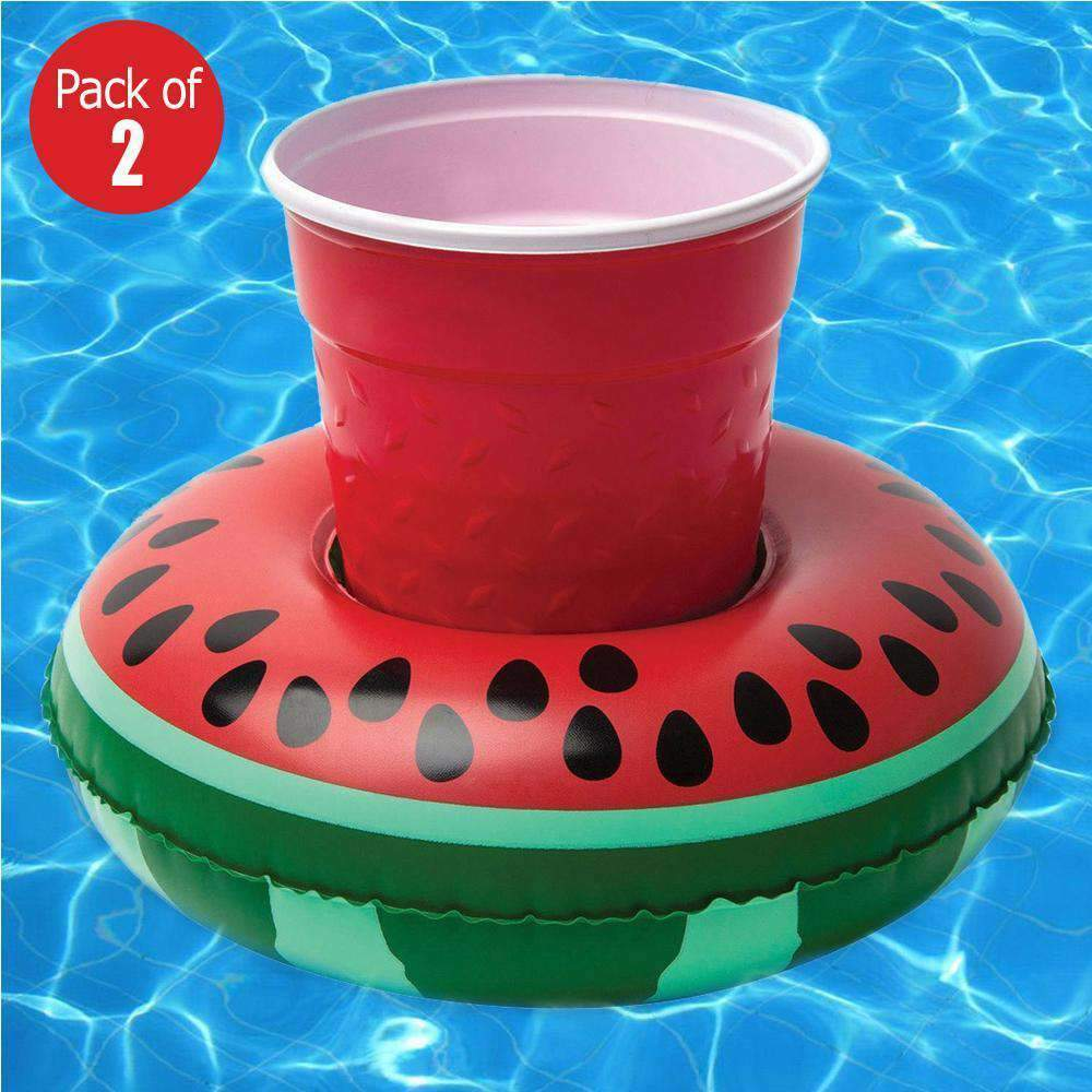 2x Inflatable Floating Drink Holder Can Beer Cup Swimming Pool Party