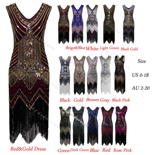 1920s Flapper Dress Gatsby Sequined Vintage Party Wedding Evening Clubwear Dress