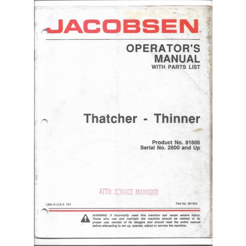 original-jacobsen-81606-thatcher-thinner-operators-manual-with-parts-list-361053