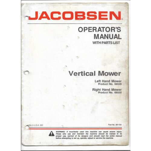 original-jacobsen-68549-68550-vertical-mower-operators-manual-parts-list-361194