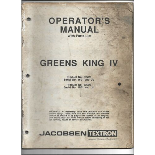 original-jacobsen-62225-62226-greens-king-iv-operators-manual-parts-list-363920