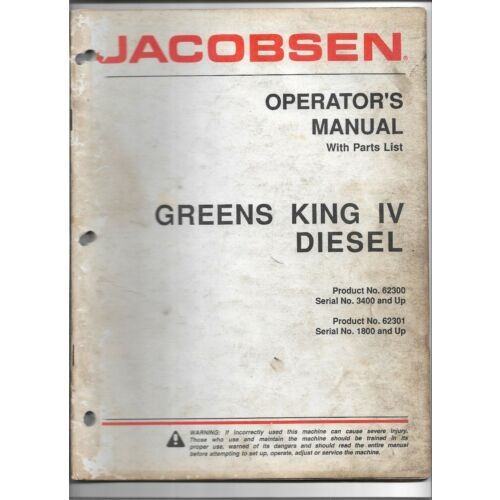 original-jacobsen-62300-62301-greens-king-iv-diesel-operators-manual-parts-list
