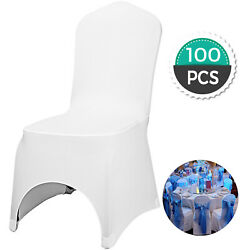 Kyпить Universal 100 pcs Polyester Spandex Wedding Chair Covers Arched Front White???? на еВаy.соm