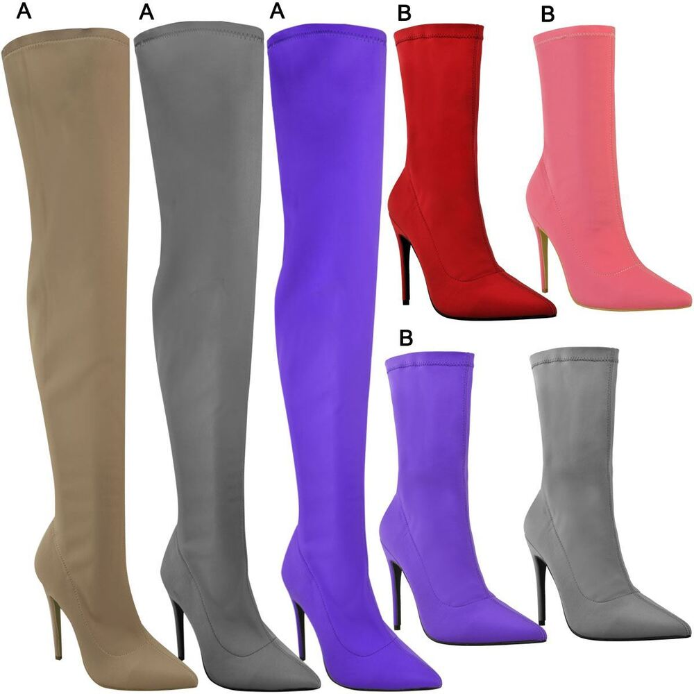 b395ffb242 Details about Womens Ladies Stiletto High Heels Boots Pointed Thigh High  Ankle Shoes Size New