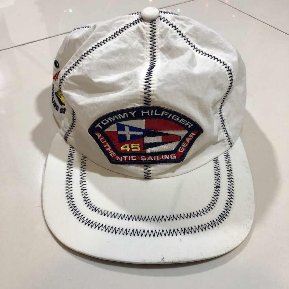 Details about Rare Tommy Hilfiger Sailing Gear TH45 Vintage Strapback Hat  Cap Strap Adjustable 276e158a101c