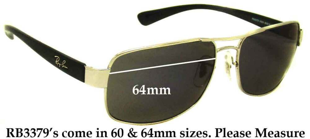 3edbbc361d7 Details about SFx Replacement Sunglass Lenses fits Ray Ban RB3379 - 64mm  wide