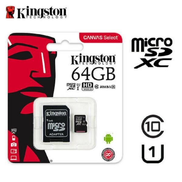 MICROSD 64GB ORIGINALE CANVAS SELECT CLASSE10 KINGSTON MEMORIA CELLULARE TABLET