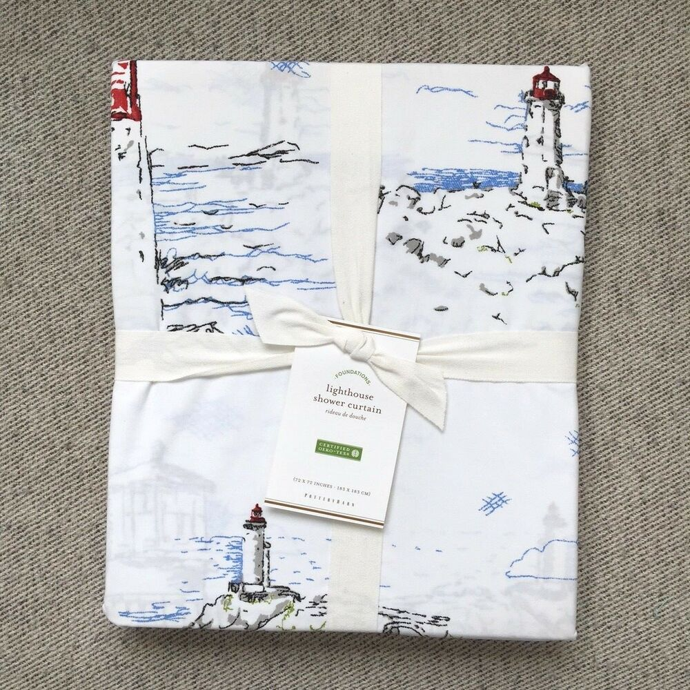 Pottery Barn LIGHTHOUSE PRINT Shower Curtain Grey Red
