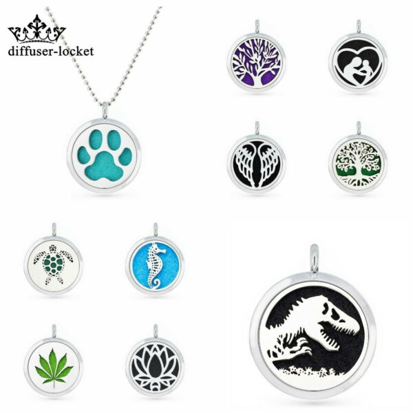 1pc new 30mm  Aromatherapy Necklace Alloy Essential Oil Diffuser Locket Size