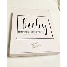 Canwryn Baby Memories + Milestones First 5 Years Baby Book Black / White Stripes
