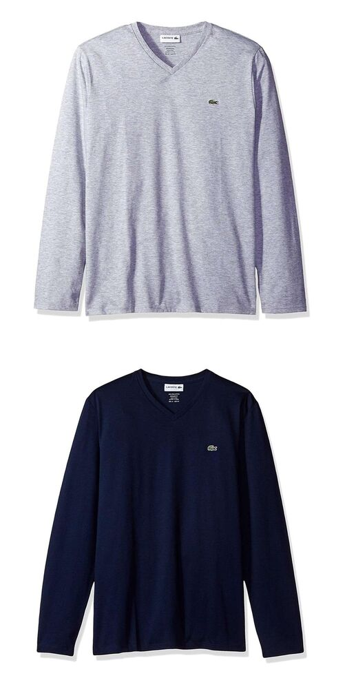 e9a0a703 Details about NEW Lacoste Men's Casual Shirts Long Sleeve Jersey Pima V  Neck T-Shirt Authentic
