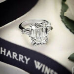 Certified 2.85ct White Emerald Diamond Engagement Ring in Real 14K white Gold