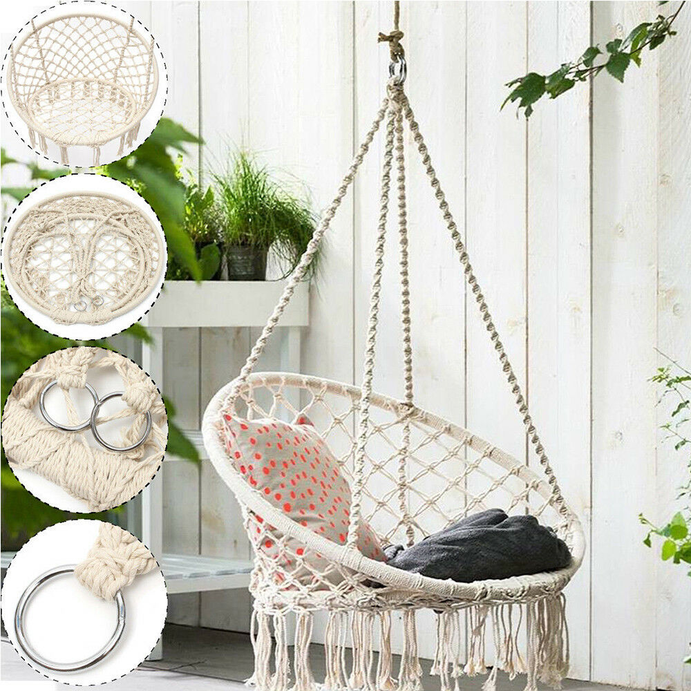 NEW Macrame Hammock Chairs Hanging Chair Home Garden Swing Chair W/  Accessories
