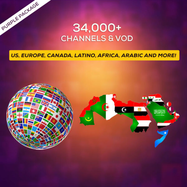 1 Month IPTV SUBSCRIPTION +34000 Ch&VOD US, CANADA, EUROPE, LATINO, AFRICA, AR