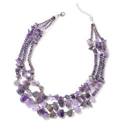 Amethyst Purple Glass Strand Statement Necklace Jewelry Gift for Women 18