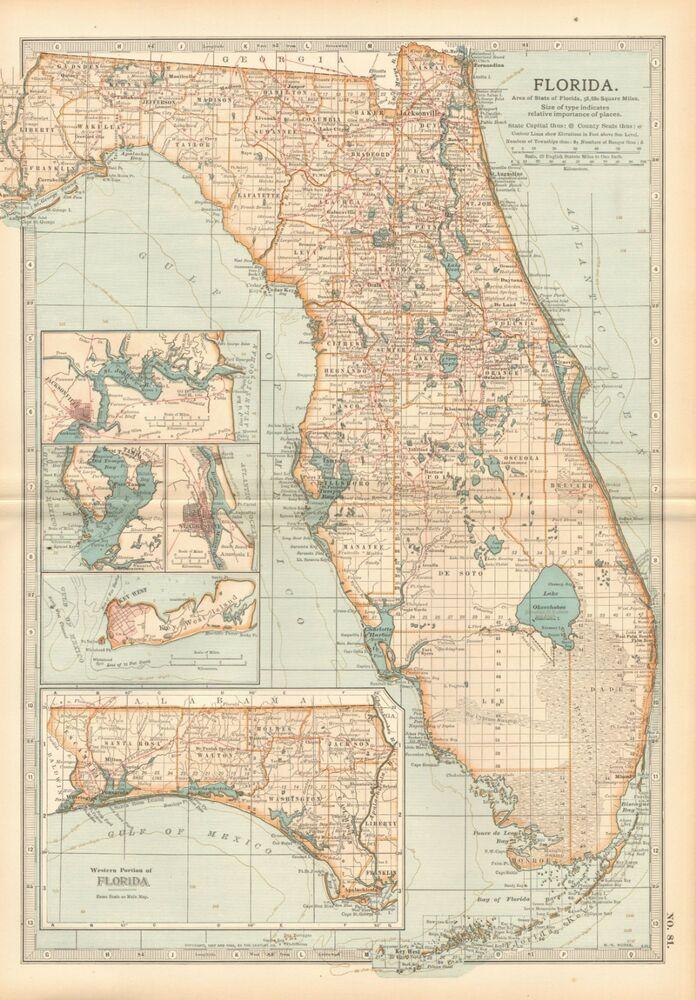 Antique Map Of Florida.1903 Antique Map Usa Florida Tampa Jacksonville Key West Ebay