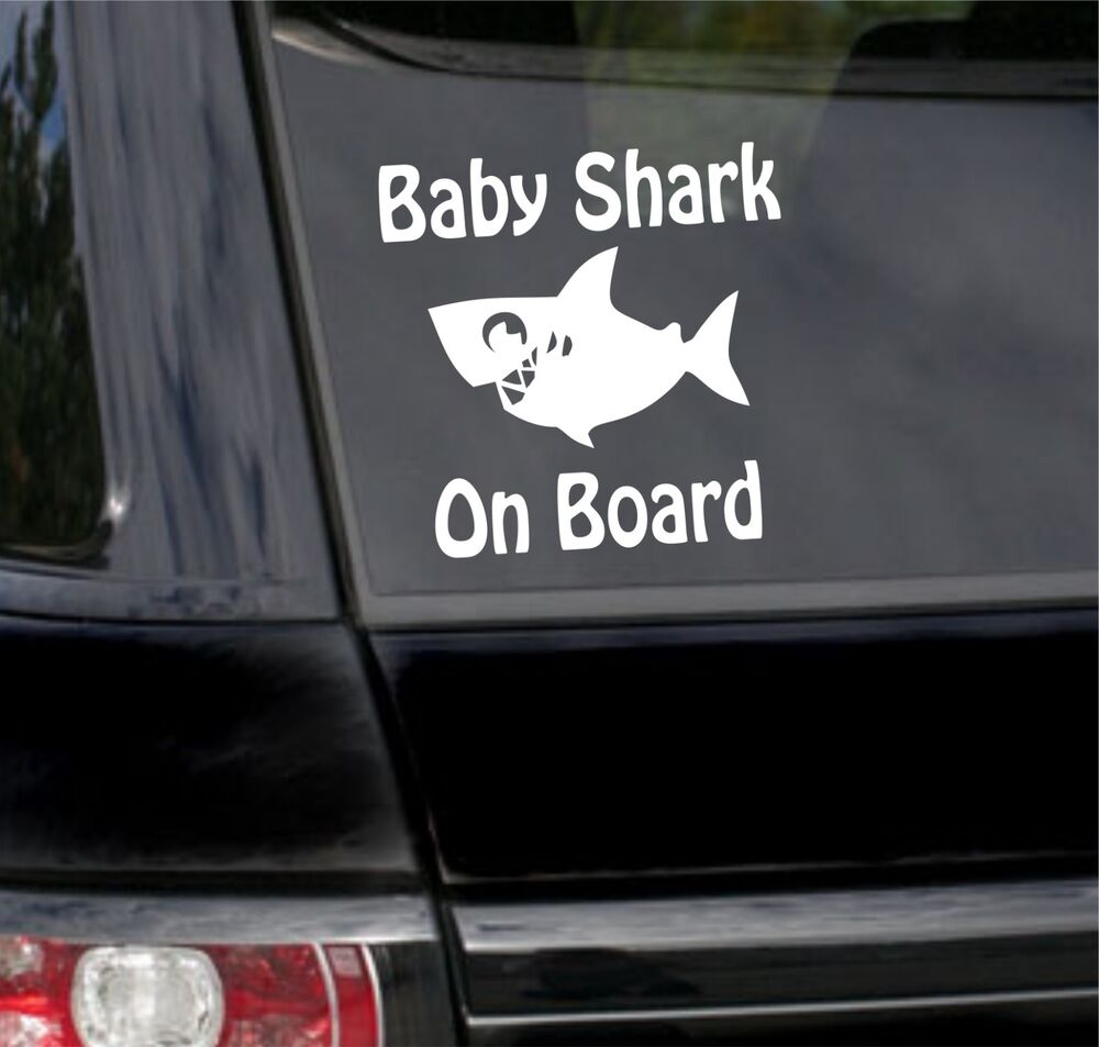 Details about baby shark on board kids child funny car bumper window sticker vinyl decal