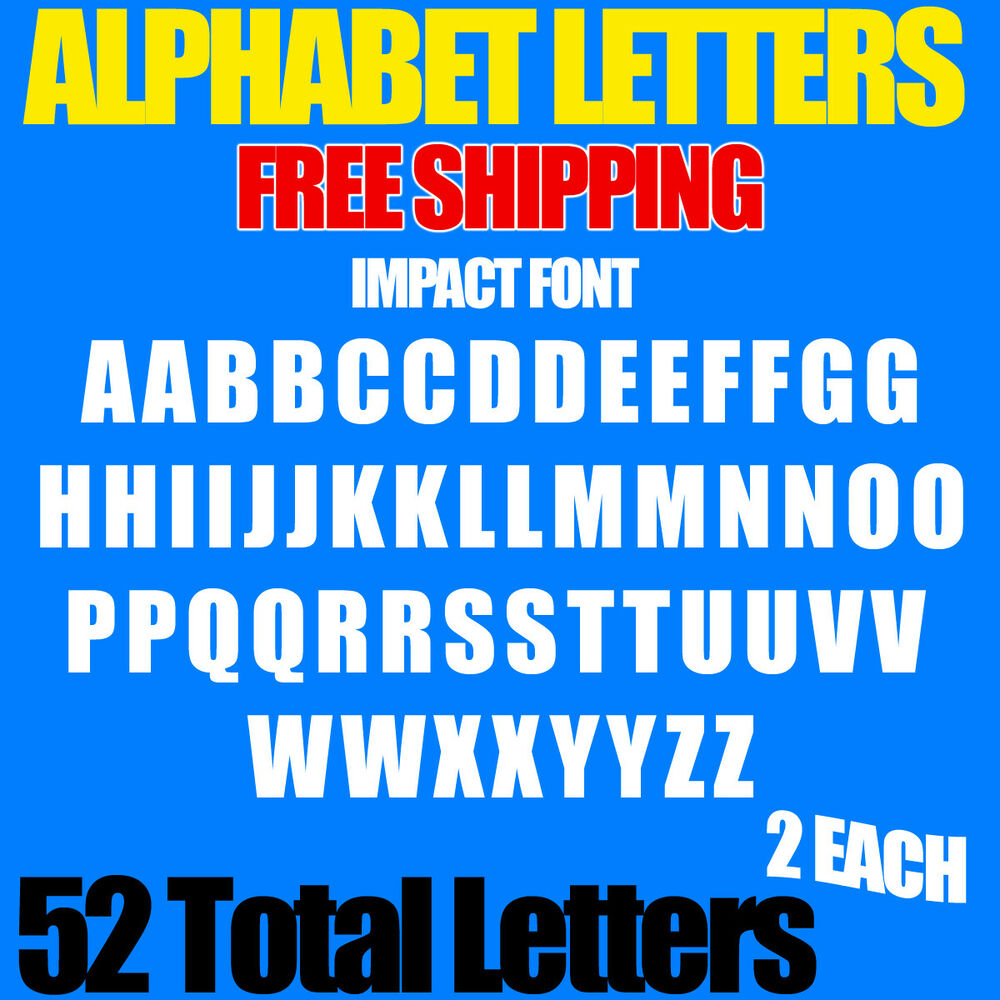 Details about alphabet letters decals impact 1 2 3 4 1 1 5 2 2 5 3 free ship stickers