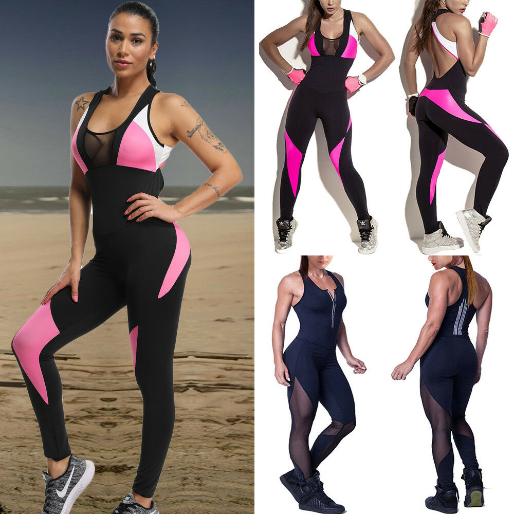 90261b717832 Details about Women s Sports Yoga Jumpsuit Gym Rompers Sexy Suit Fitness  Workout Bodysuits US
