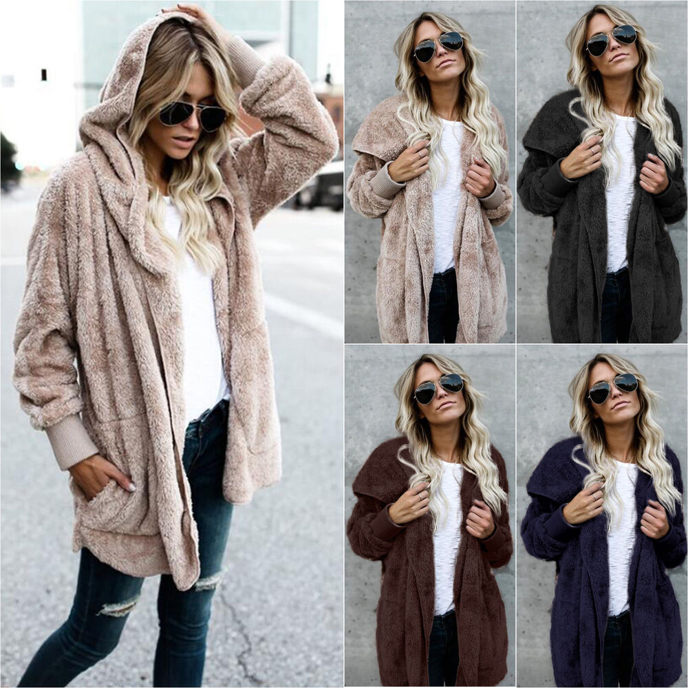 Details about Womens Winter Hooded Pullover Plush Fluffy Coat Fleece Fur Jacket  Tops Oversized fd7970e5a