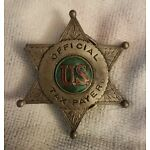 Vintage Official Taxpayer Taxes Tax Payer Star Badge Belt Buckle 1973