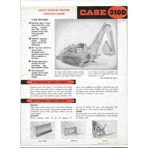 original-case-310d-utility-crawler-tractor-backhoe-loader-sales-brochure-121959